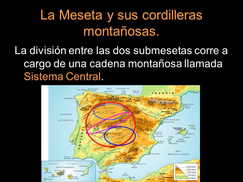 La división entre las dos submesetas corre a cargo de una cadena montañosa llamada Sistema Central.