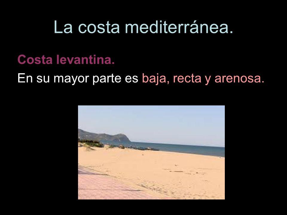 La costa mediterránea. Costa levantina. En su mayor parte es baja, recta y arenosa.
