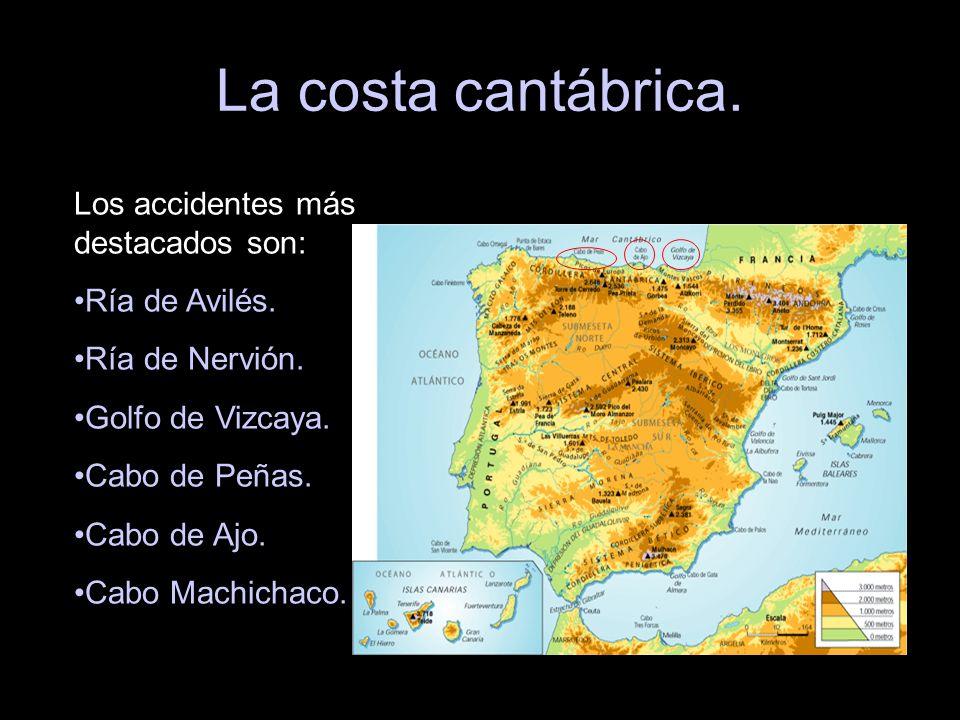 La costa cantábrica. Los accidentes más destacados son: Ría de Avilés. Ría de Nervión. Golfo de Vizcaya. Cabo de Peñas. Cabo de Ajo. Cabo Machichaco.