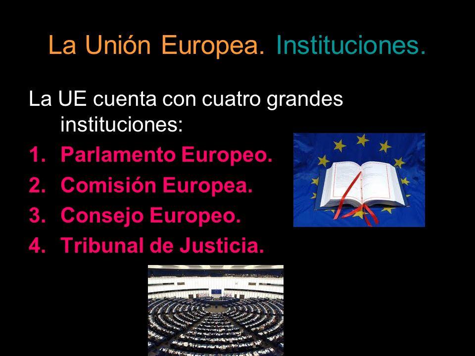 La Unión Europea. Instituciones. La UE cuenta con cuatro grandes instituciones: 1.Parlamento Europeo. 2.Comisión Europea. 3.Consejo Europeo. 4.Tribuna