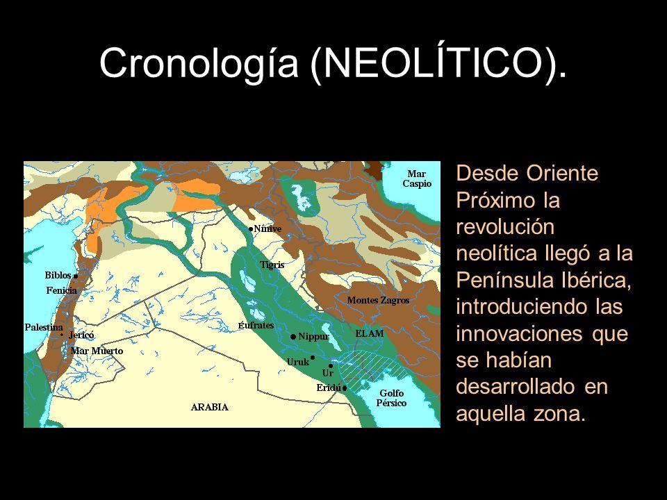 Cronología (NEOLÍTICO). Desde Oriente Próximo la revolución neolítica llegó a la Península Ibérica, introduciendo las innovaciones que se habían desar