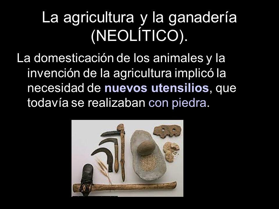 La domesticación de los animales y la invención de la agricultura implicó la necesidad de nuevos utensilios, que todavía se realizaban con piedra.