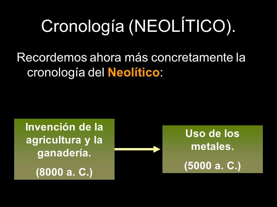 Cronología (NEOLÍTICO). Recordemos ahora más concretamente la cronología del Neolítico: Invención de la agricultura y la ganadería. (8000 a. C.) Uso d