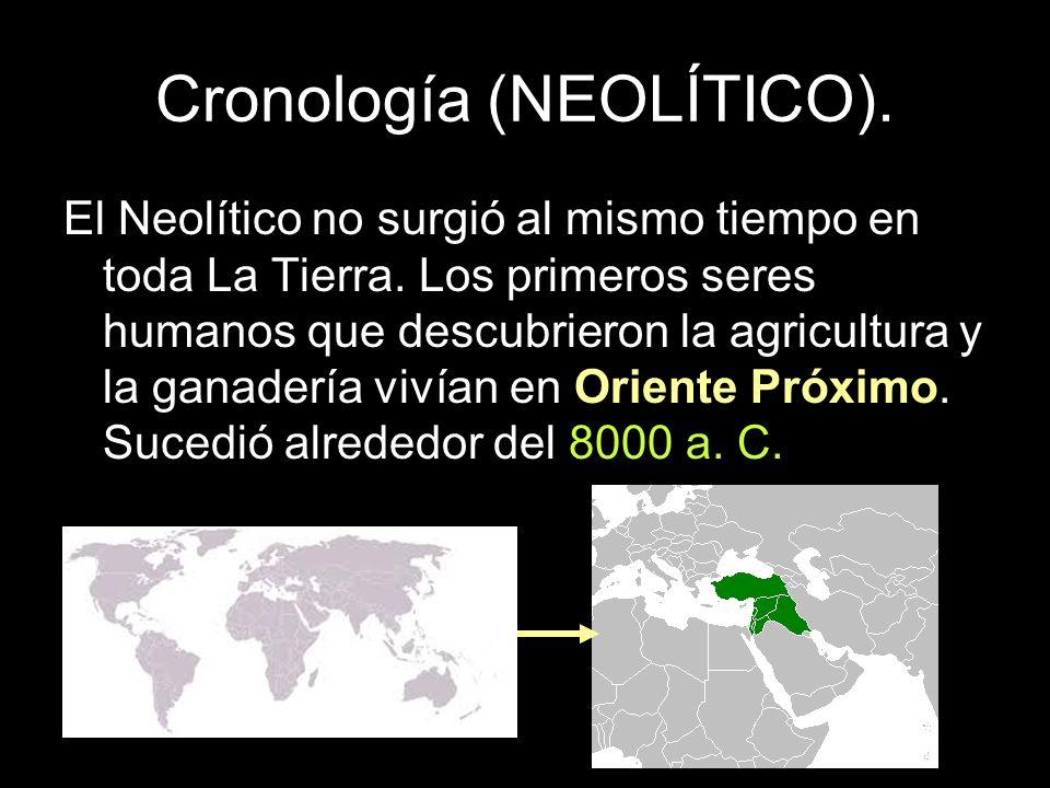 Cronología (NEOLÍTICO). El Neolítico no surgió al mismo tiempo en toda La Tierra. Los primeros seres humanos que descubrieron la agricultura y la gana