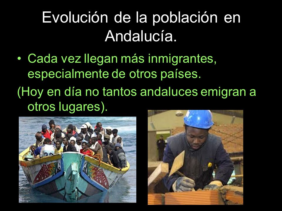 Evolución de la población en Andalucía. Cada vez llegan más inmigrantes, especialmente de otros países. (Hoy en día no tantos andaluces emigran a otro