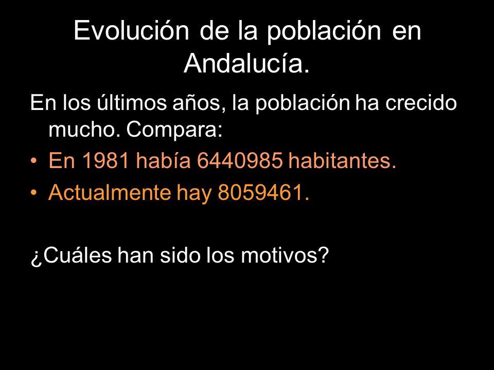 Evolución de la población en Andalucía. En los últimos años, la población ha crecido mucho. Compara: En 1981 había 6440985 habitantes. Actualmente hay