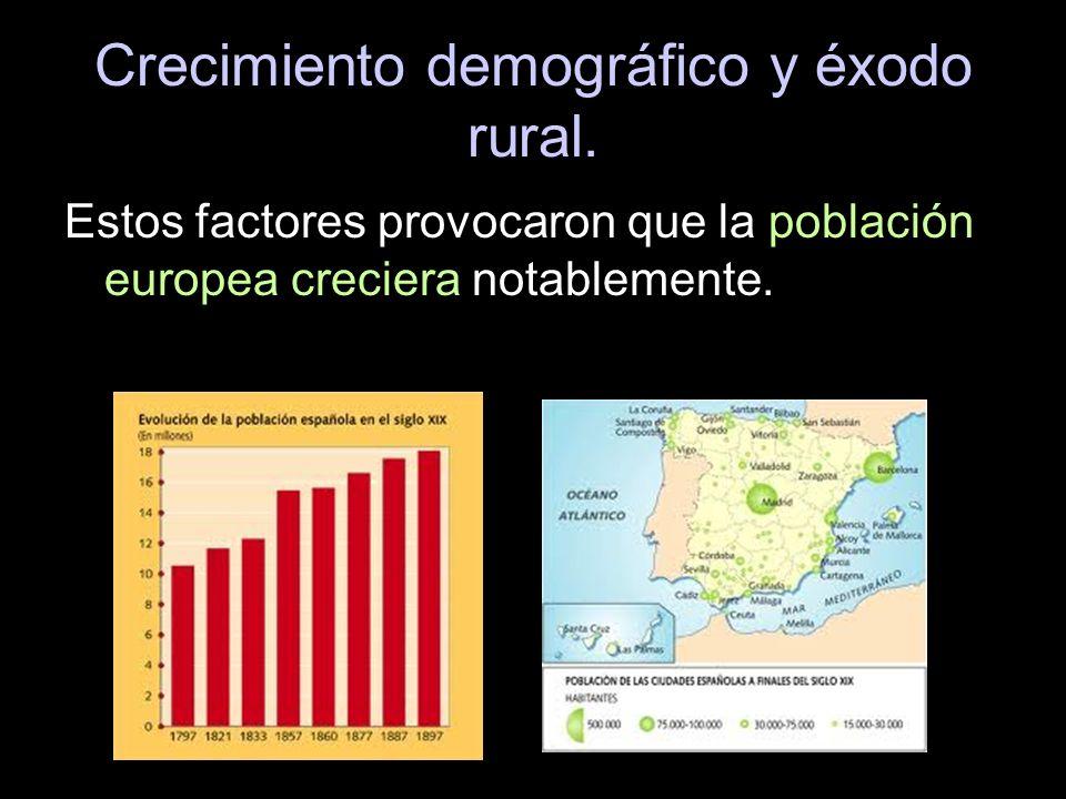 Crecimiento demográfico y éxodo rural. Estos factores provocaron que la población europea creciera notablemente.