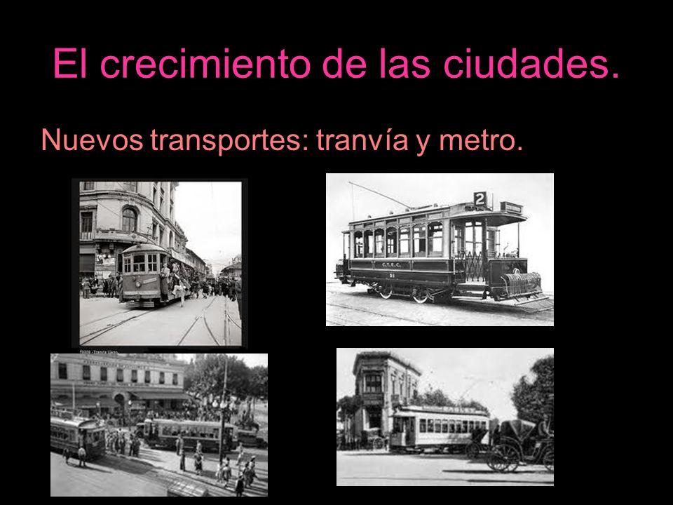 El crecimiento de las ciudades. Nuevos transportes: tranvía y metro.