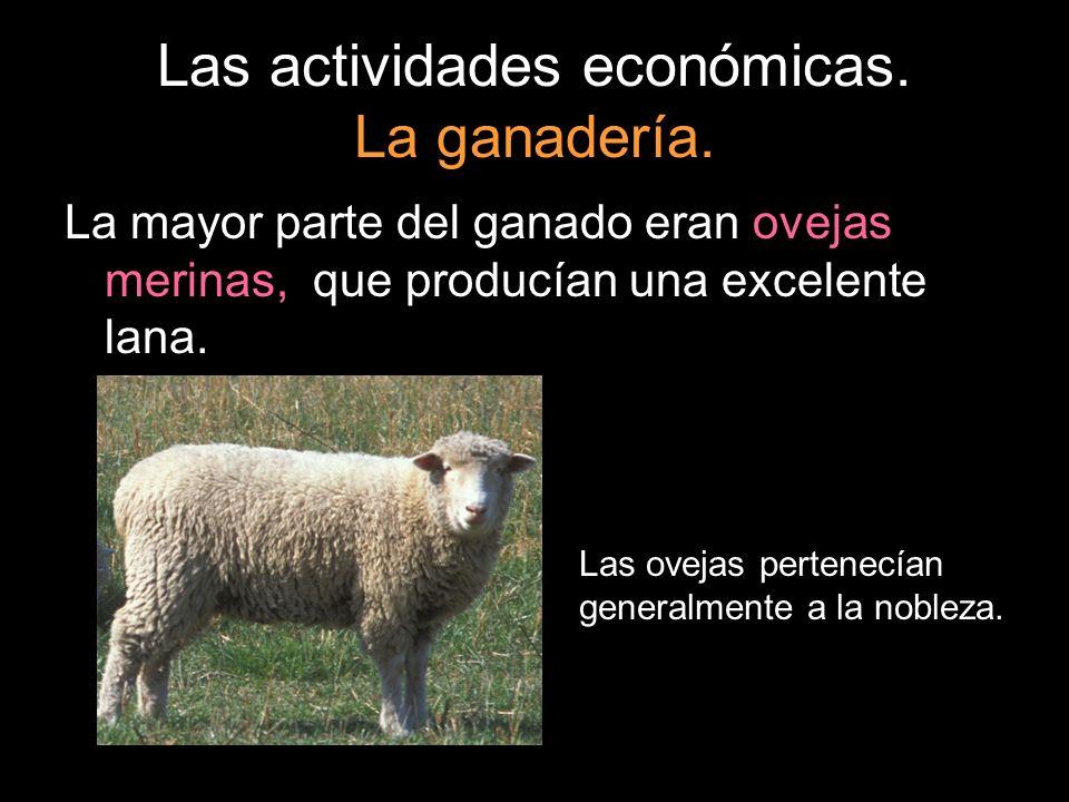 La mayor parte del ganado eran ovejas merinas,, que producían una excelente lana. Las ovejas pertenecían generalmente a la nobleza.