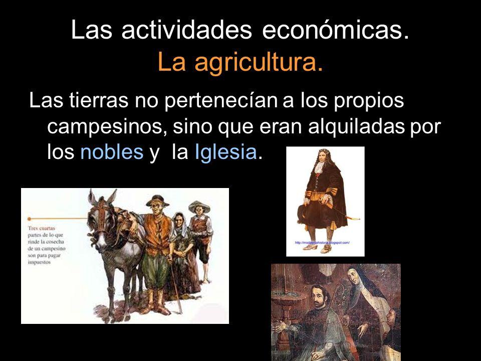 Las actividades económicas. La agricultura. Las tierras no pertenecían a los propios campesinos, sino que eran alquiladas por los nobles y la Iglesia.