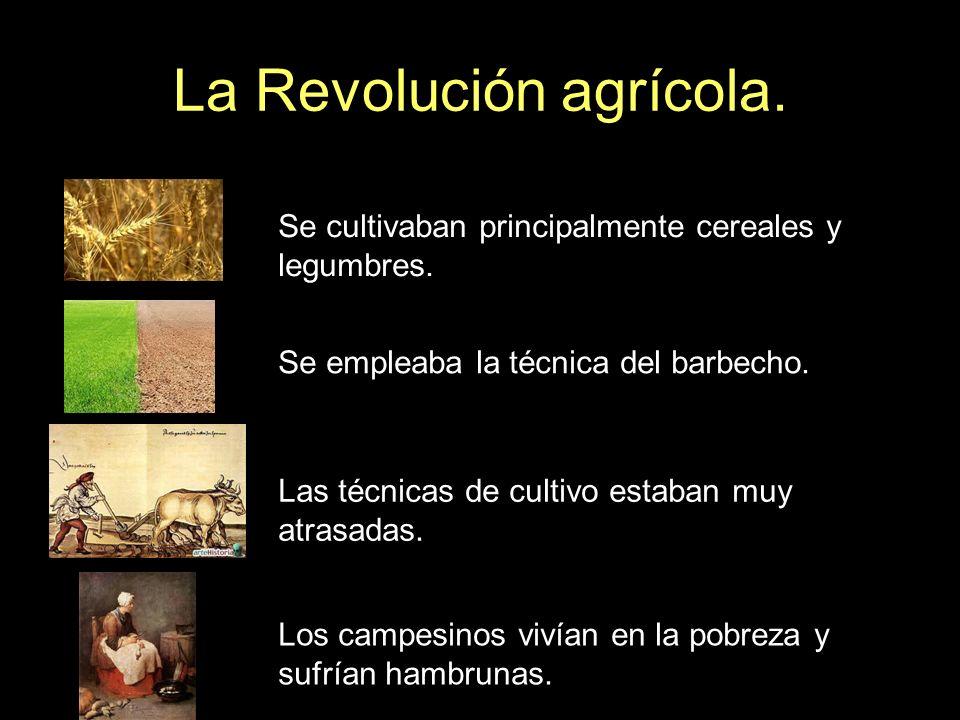 La Revolución agrícola. Se cultivaban principalmente cereales y legumbres. Se empleaba la técnica del barbecho. Las técnicas de cultivo estaban muy at
