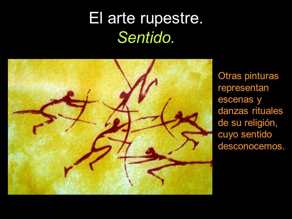 Otras pinturas representan escenas y danzas rituales de su religión, cuyo sentido desconocemos.