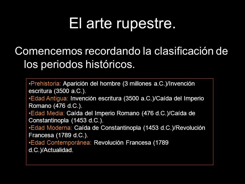 El arte rupestre. Comencemos recordando la clasificación de los periodos históricos. Prehistoria: Aparición del hombre (3 millones a.C.)/Invención esc