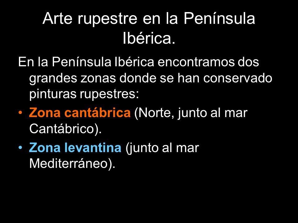 Arte rupestre en la Península Ibérica. En la Península Ibérica encontramos dos grandes zonas donde se han conservado pinturas rupestres: Zona cantábri