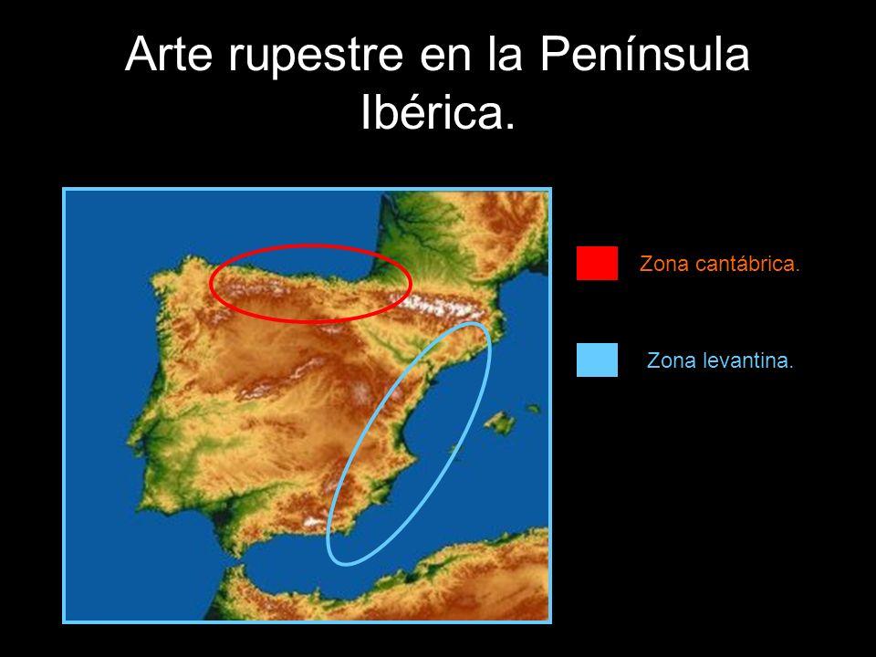 Arte rupestre en la Península Ibérica. Zona cantábrica. Zona levantina.