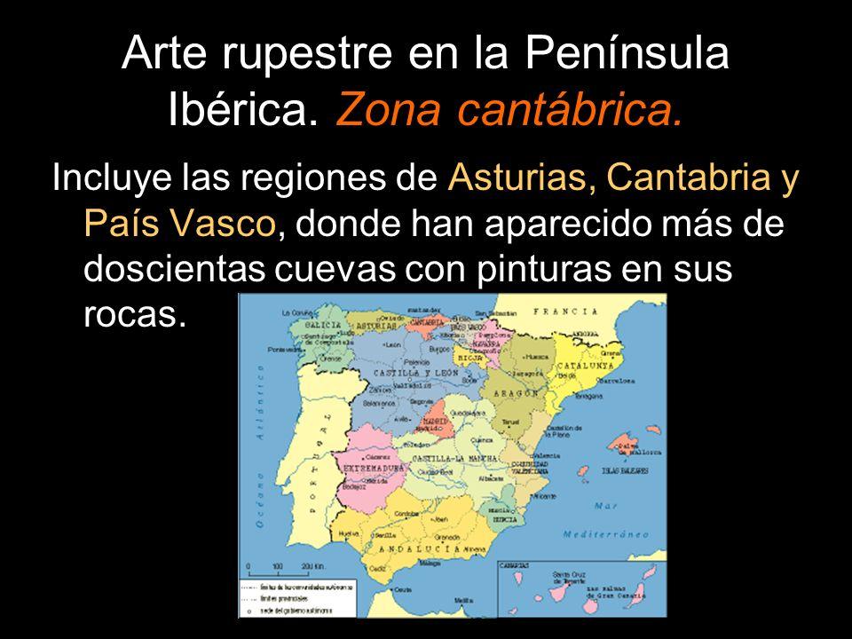 Arte rupestre en la Península Ibérica. Zona cantábrica. Incluye las regiones de Asturias, Cantabria y País Vasco, donde han aparecido más de doscienta