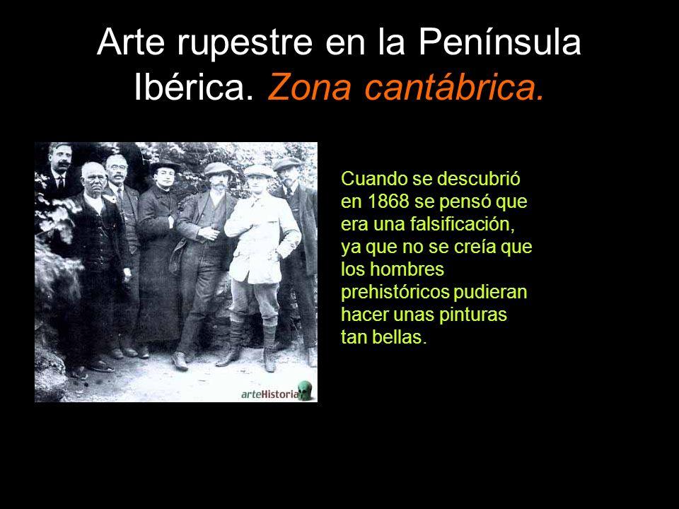 Arte rupestre en la Península Ibérica. Zona cantábrica. Cuando se descubrió en 1868 se pensó que era una falsificación, ya que no se creía que los hom