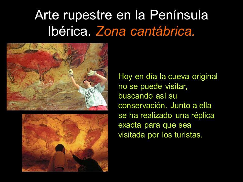 Arte rupestre en la Península Ibérica. Zona cantábrica. Hoy en día la cueva original no se puede visitar, buscando así su conservación. Junto a ella s
