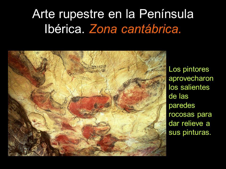 Arte rupestre en la Península Ibérica. Zona cantábrica. Los pintores aprovecharon los salientes de las paredes rocosas para dar relieve a sus pinturas