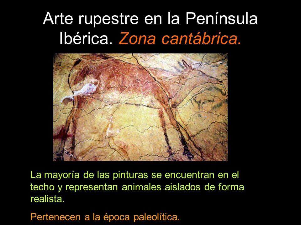 Arte rupestre en la Península Ibérica. Zona cantábrica. La mayoría de las pinturas se encuentran en el techo y representan animales aislados de forma