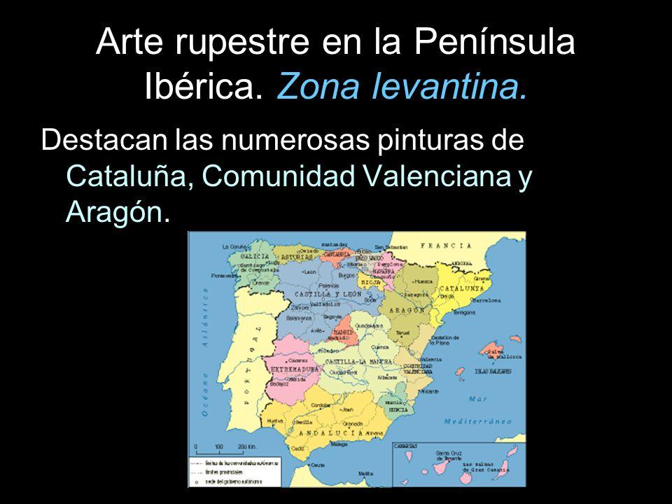 Arte rupestre en la Península Ibérica. Zona levantina. Destacan las numerosas pinturas de Cataluña, Comunidad Valenciana y Aragón.