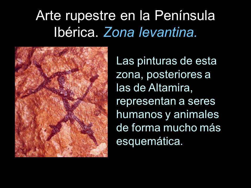 Arte rupestre en la Península Ibérica. Zona levantina. Las pinturas de esta zona, posteriores a las de Altamira, representan a seres humanos y animale