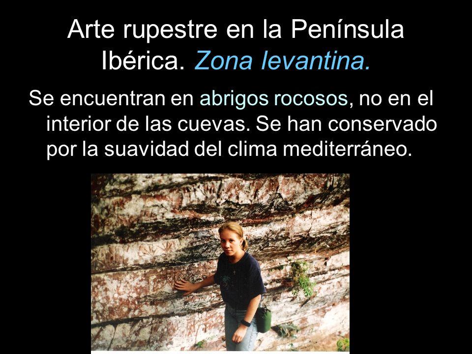Arte rupestre en la Península Ibérica. Zona levantina. Se encuentran en abrigos rocosos, no en el interior de las cuevas. Se han conservado por la sua