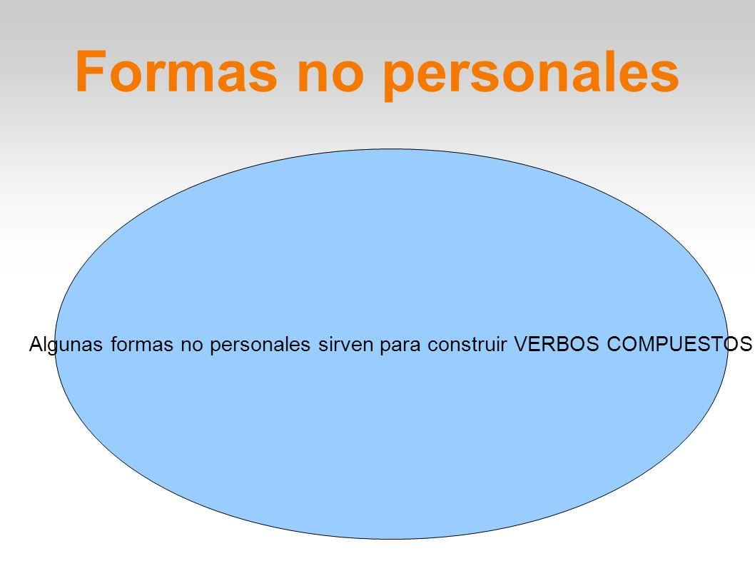 Formas no personales Algunas formas no personales sirven para construir VERBOS COMPUESTOS