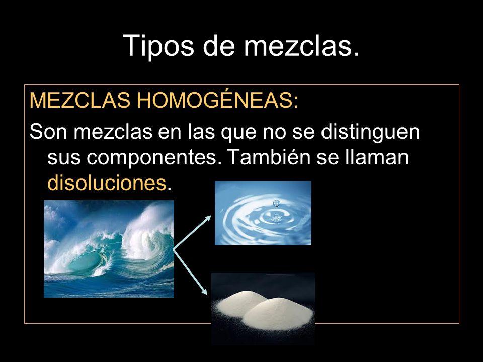 Tipos de mezclas. MEZCLAS HOMOGÉNEAS: Son mezclas en las que no se distinguen sus componentes. También se llaman disoluciones.