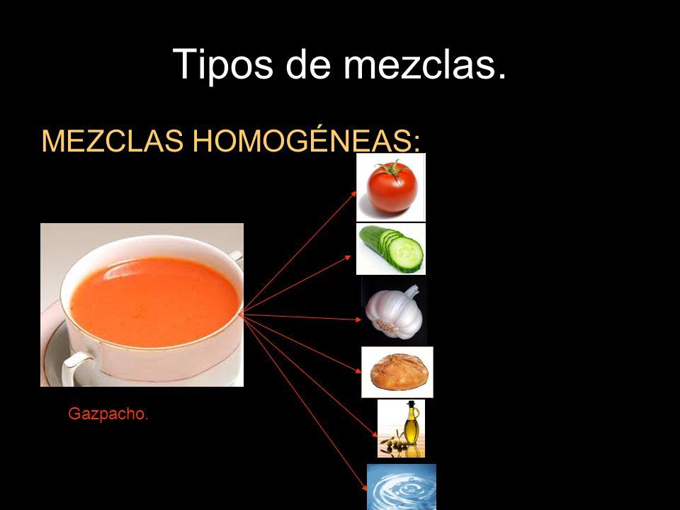Tipos de mezclas. MEZCLAS HOMOGÉNEAS: Gazpacho.