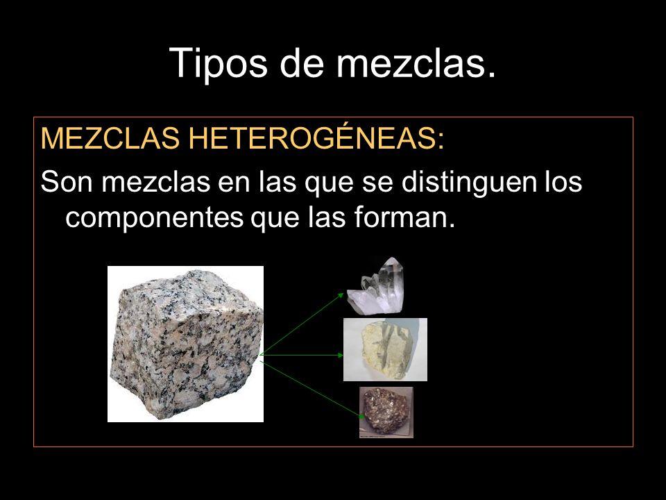 Tipos de mezclas. MEZCLAS HETEROGÉNEAS: Son mezclas en las que se distinguen los componentes que las forman.