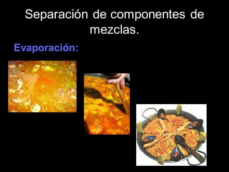 Separación de componentes de mezclas. Evaporación: