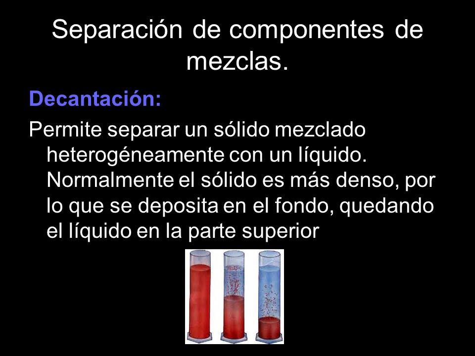 Separación de componentes de mezclas. Decantación: Permite separar un sólido mezclado heterogéneamente con un líquido. Normalmente el sólido es más de