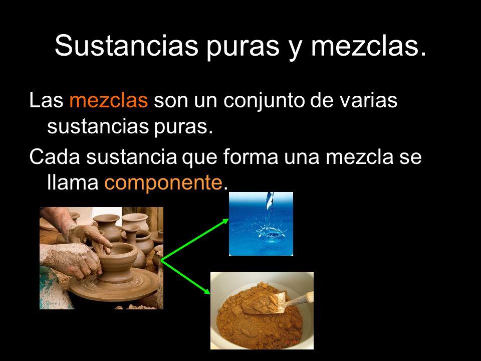 Sustancias puras y mezclas. Las mezclas son un conjunto de varias sustancias puras. Cada sustancia que forma una mezcla se llama componente.