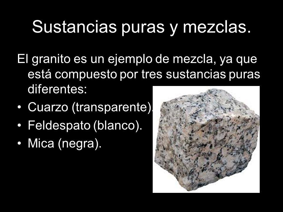 Sustancias puras y mezclas. El granito es un ejemplo de mezcla, ya que está compuesto por tres sustancias puras diferentes: Cuarzo (transparente). Fel