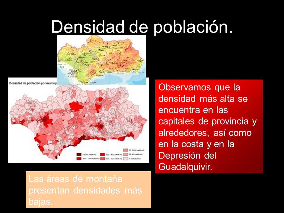 Densidad de población. Observamos que la densidad más alta se encuentra en las capitales de provincia y alrededores, así como en la costa y en la Depr