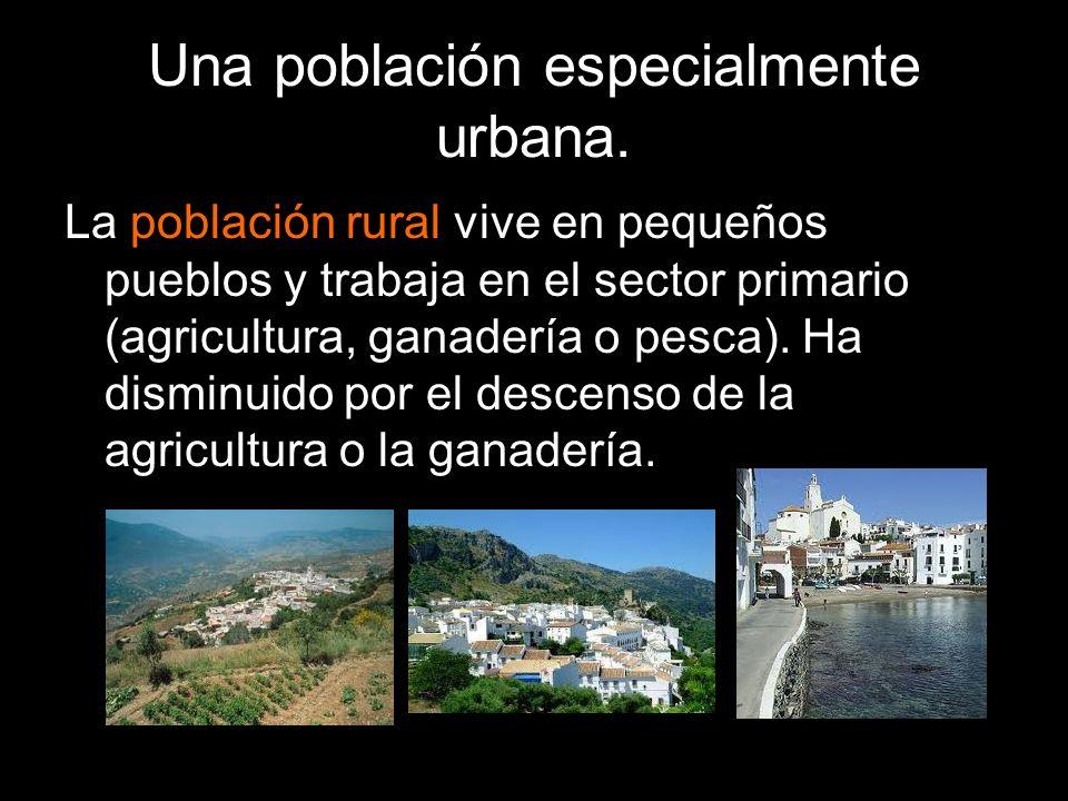 La población rural vive en pequeños pueblos y trabaja en el sector primario (agricultura, ganadería o pesca). Ha disminuido por el descenso de la agri