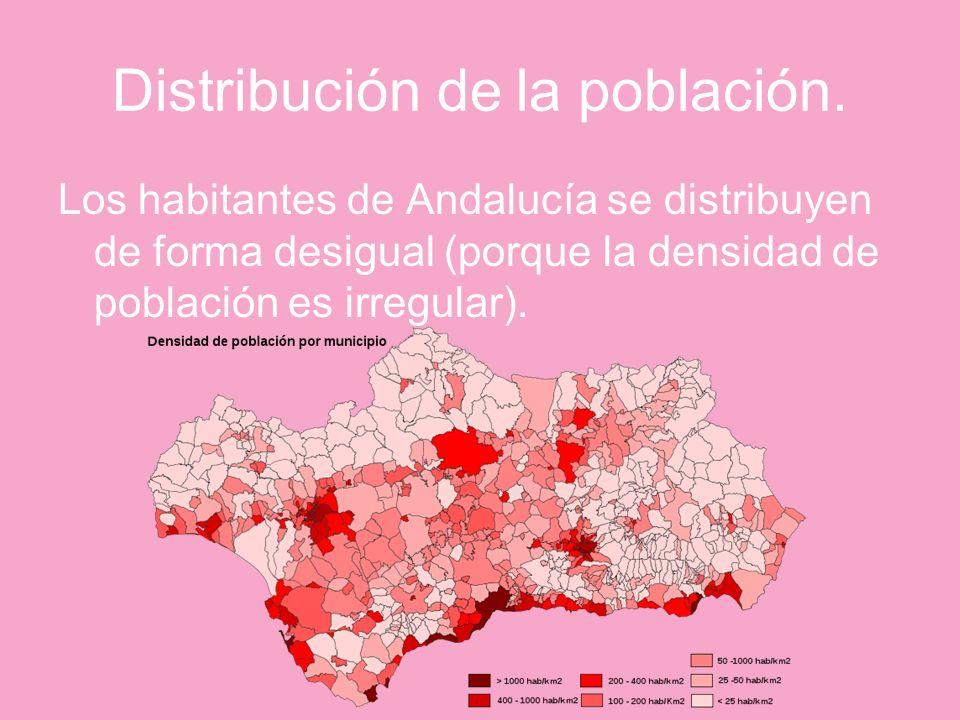 Distribución de la población. Los habitantes de Andalucía se distribuyen de forma desigual (porque la densidad de población es irregular).