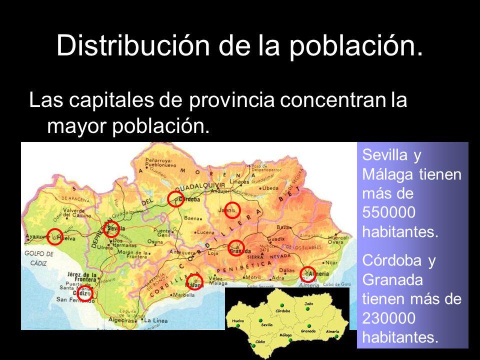 Distribución de la población. Las capitales de provincia concentran la mayor población. Sevilla y Málaga tienen más de 550000 habitantes. Córdoba y Gr