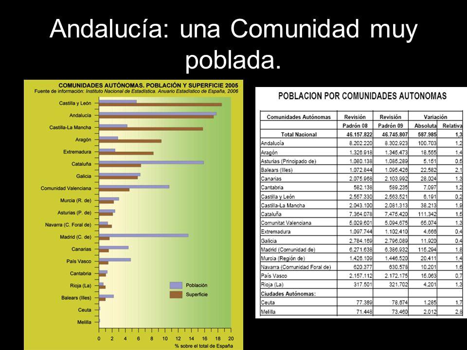 Densidad de población.Observa la densidad de población de los municipios de Andalucía.