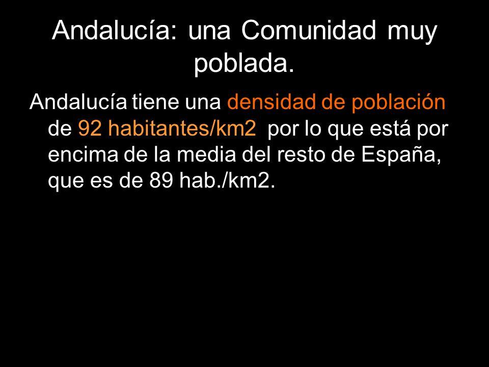 Andalucía tiene una densidad de población de 92 habitantes/km2, por lo que está por encima de la media del resto de España, que es de 89 hab./km2.