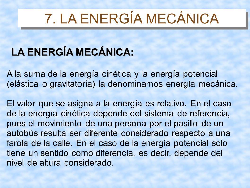 7. LA ENERGÍA MECÁNICA LA ENERGÍA MECÁNICA: A la suma de la energía cinética y la energía potencial (elástica o gravitatoria) la denominamos energía m