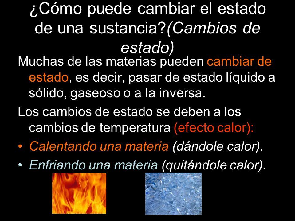 ¿Cómo puede cambiar el estado de una sustancia?(Cambios de estado) Muchas de las materias pueden cambiar de estado, es decir, pasar de estado líquido