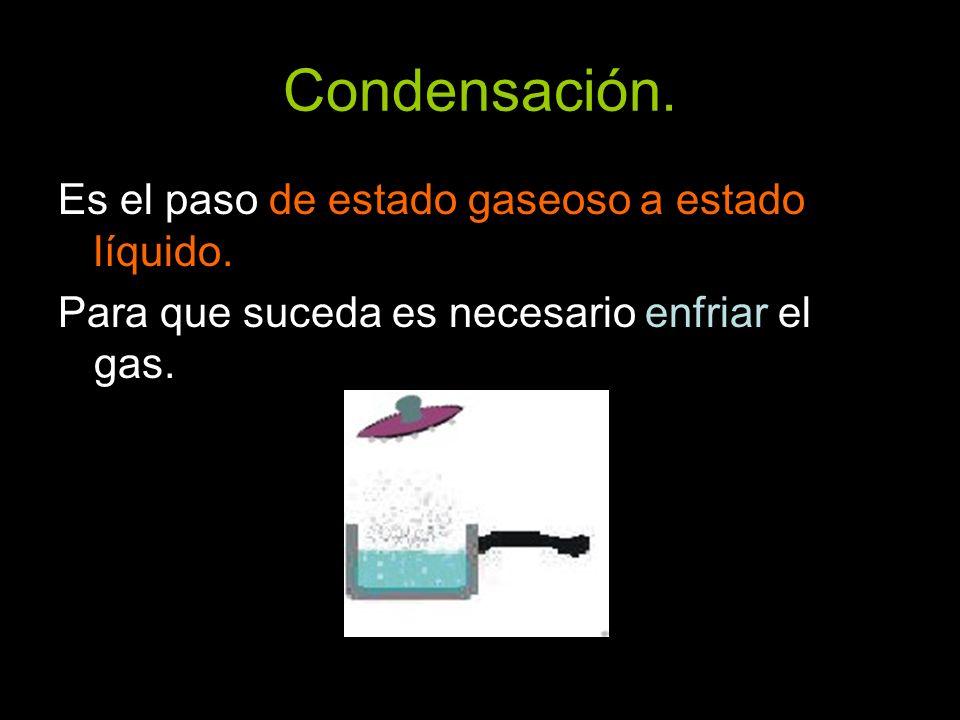 Condensación. Es el paso de estado gaseoso a estado líquido. Para que suceda es necesario enfriar el gas.
