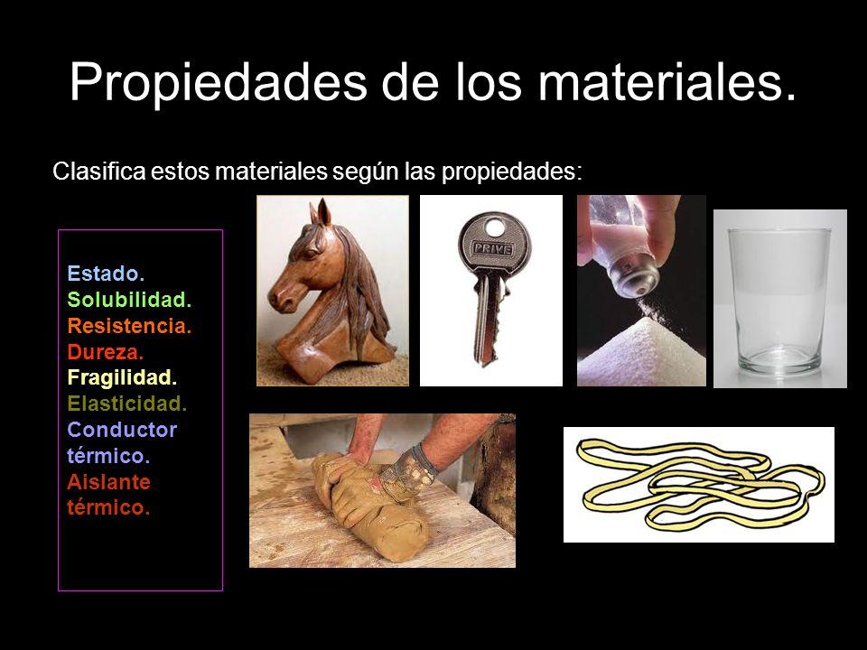 Propiedades de los materiales. Clasifica estos materiales según las propiedades: Estado. Solubilidad. Resistencia. Dureza. Fragilidad. Elasticidad. Co