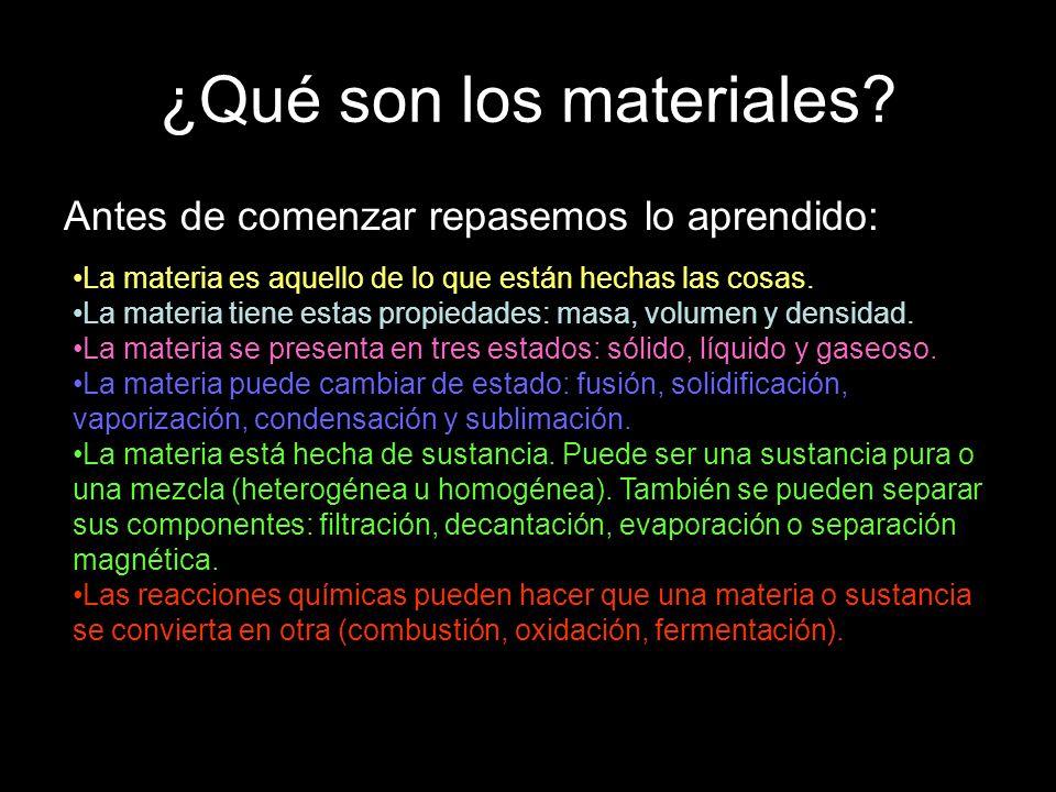 ¿Qué son los materiales? Antes de comenzar repasemos lo aprendido: La materia es aquello de lo que están hechas las cosas. La materia tiene estas prop