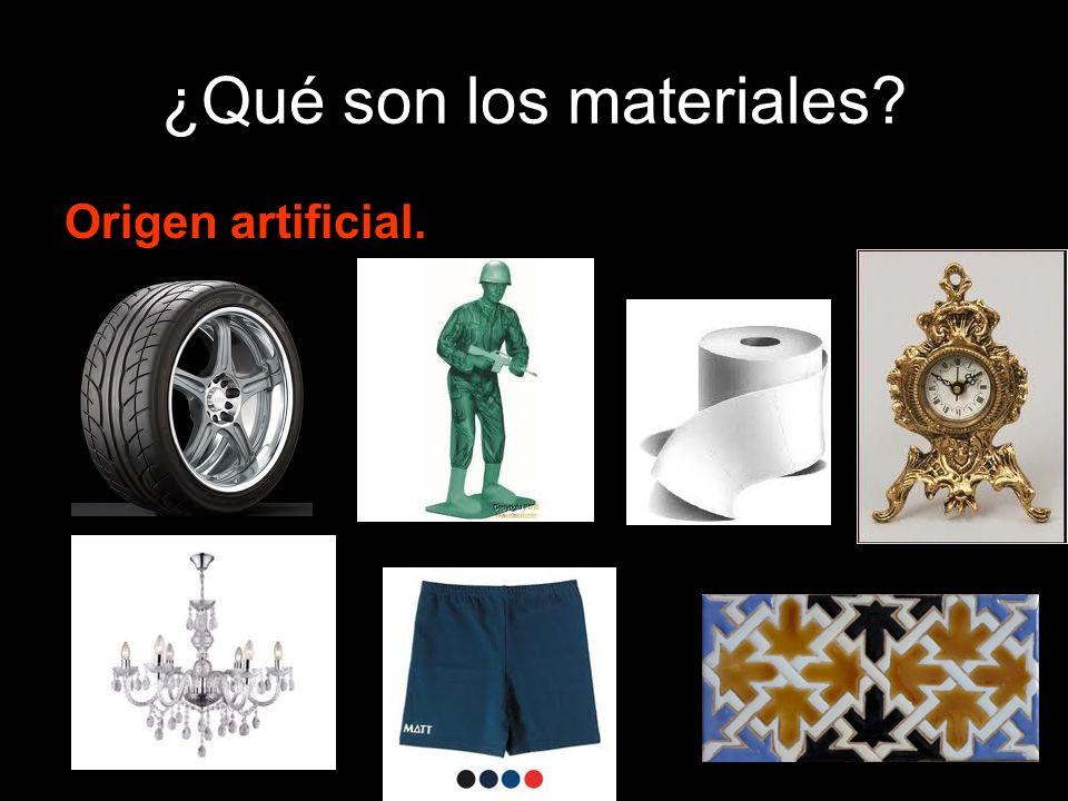 ¿Qué son los materiales? Origen artificial.