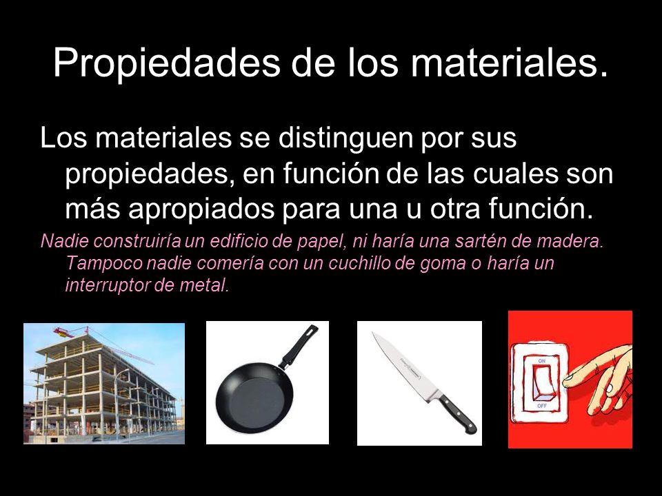 Propiedades de los materiales. Los materiales se distinguen por sus propiedades, en función de las cuales son más apropiados para una u otra función.