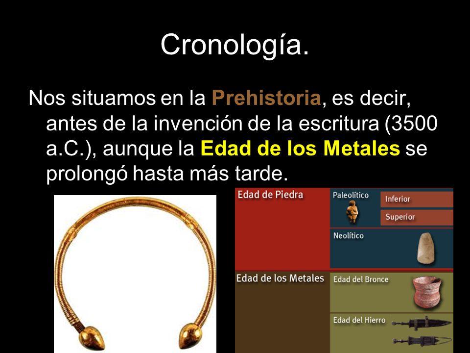Cronología. Nos situamos en la Prehistoria, es decir, antes de la invención de la escritura (3500 a.C.), aunque la Edad de los Metales se prolongó has