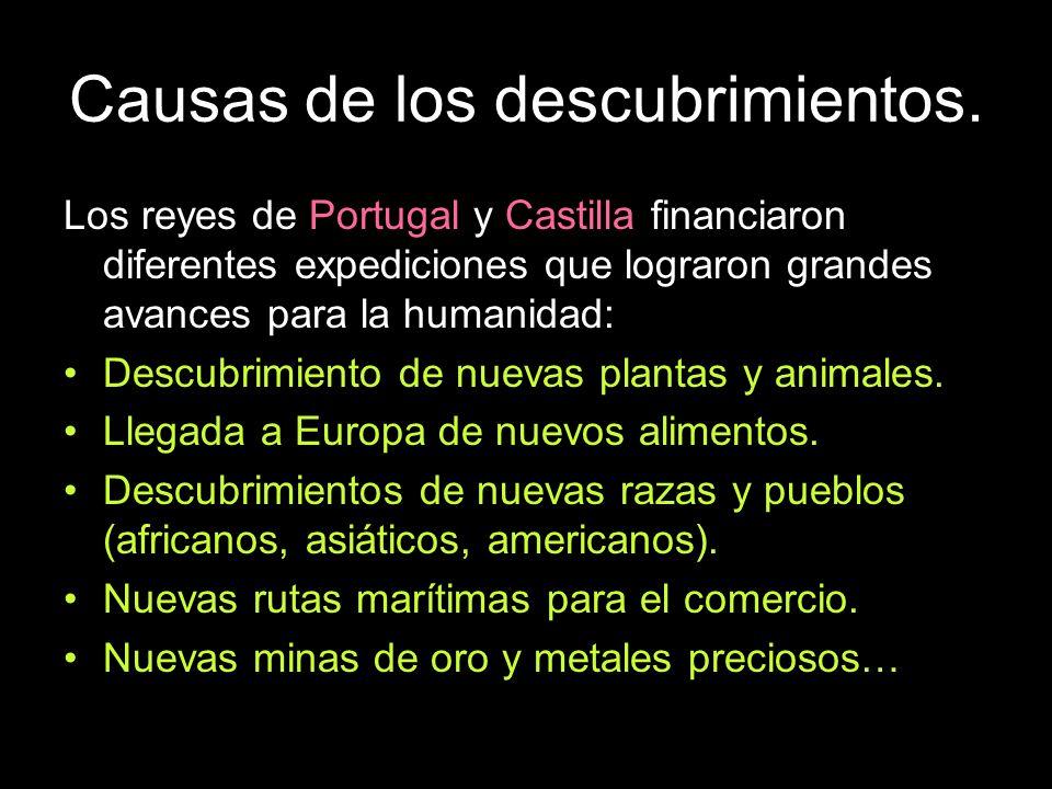 Causas de los descubrimientos. Los reyes de Portugal y Castilla financiaron diferentes expediciones que lograron grandes avances para la humanidad: De